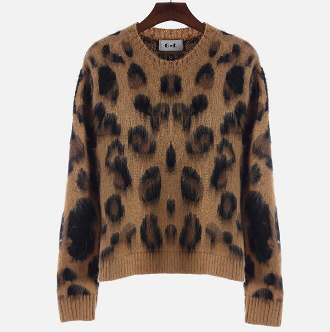 Leopard Print Cashmere Sweater Women Pullover 2