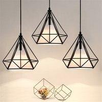 Modern Pendent Light LED Minimalist Iron Art Lamp Diamond Geometric Chandelier Birdcage Hanging Ceiling Decor Pendant Lamp