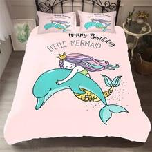 Juego de cama con edredón estampado en 3D, juego de cama con sirena de mar, Textiles para el hogar para adultos, ropa de cama realista con funda de almohada # MRY07