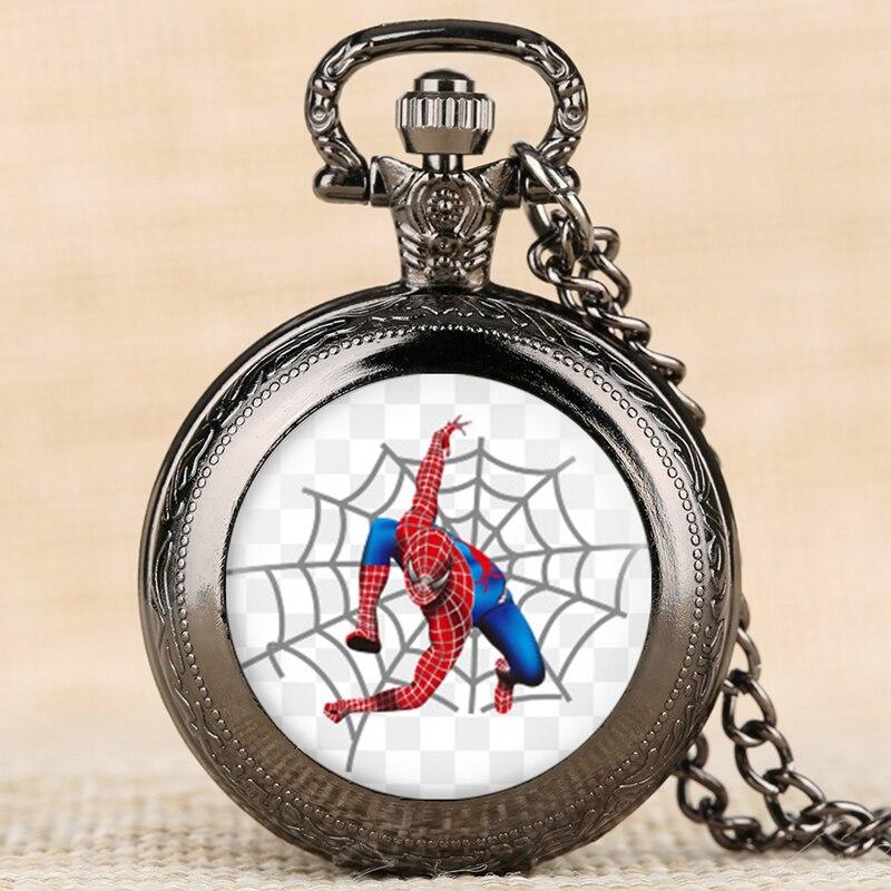 Hot Sale SpiderMan Pocket Watch Cute Cartoon Kids Watches Necklace Pendant Quartz Watch Gift Children Hour Reloj Montre Relogio