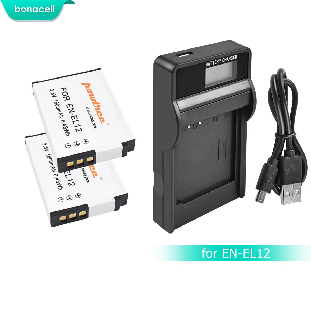 Bonacell 1800mAh EN-EL12 EN EL12 Battery+LCD Chargerfor Nikon CoolPix S610 S610c S620 S630 S710 P300 P310 P330 S6200 S9400 L15