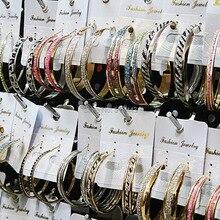 Смешанный стиль, 12 пар, модные матовые серебряные золотые большие серьги-кольца для женщин, ювелирных изделий, Прямая поставка