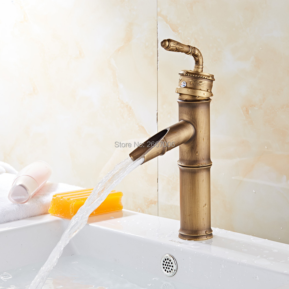 GIZERO Vintage Bamboo Shape Faucets Antique Copper Carved Bathroom Basin Sink Faucet Waterfall Spout Vanity Mixer Taps GI38AGIZERO Vintage Bamboo Shape Faucets Antique Copper Carved Bathroom Basin Sink Faucet Waterfall Spout Vanity Mixer Taps GI38A