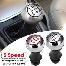 5 Speed Car MT Gear Shift Knob Lever Shifter Handle Stick For Peugeot 106 206 306 406 107 207 307 407 cheap Autoleader 4 7cm 1 6cm 9 9cm Aluminum Plastic 100g Auto Shifter Lever Stick For Peugeot 301 308 2008 3008 C2 C3 C4