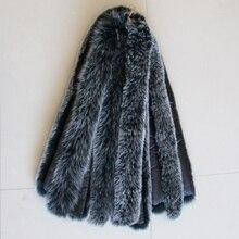 Воротник из натурального меха, натуральный Лисий мех, унисекс, для женщин и мужчин, Зимняя мода, теплая, 75 см, длина подкладки, пальто, пуховик, воротник, шарф
