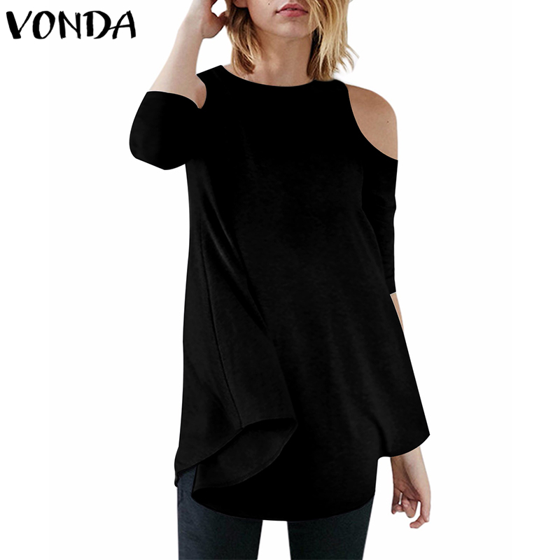 New VONDA Women Blouses 2018 Autumn Sexy Off Shoulder Shirts Casual Loose Asymmetrical Solid Tees Tops Plus Size
