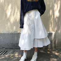 DEAT 2019 New Spring Fashion Japan Styles Girl's Skirt A line Spliced Fake Two Pieces Asymmetrical Bottoms Loose WD80200