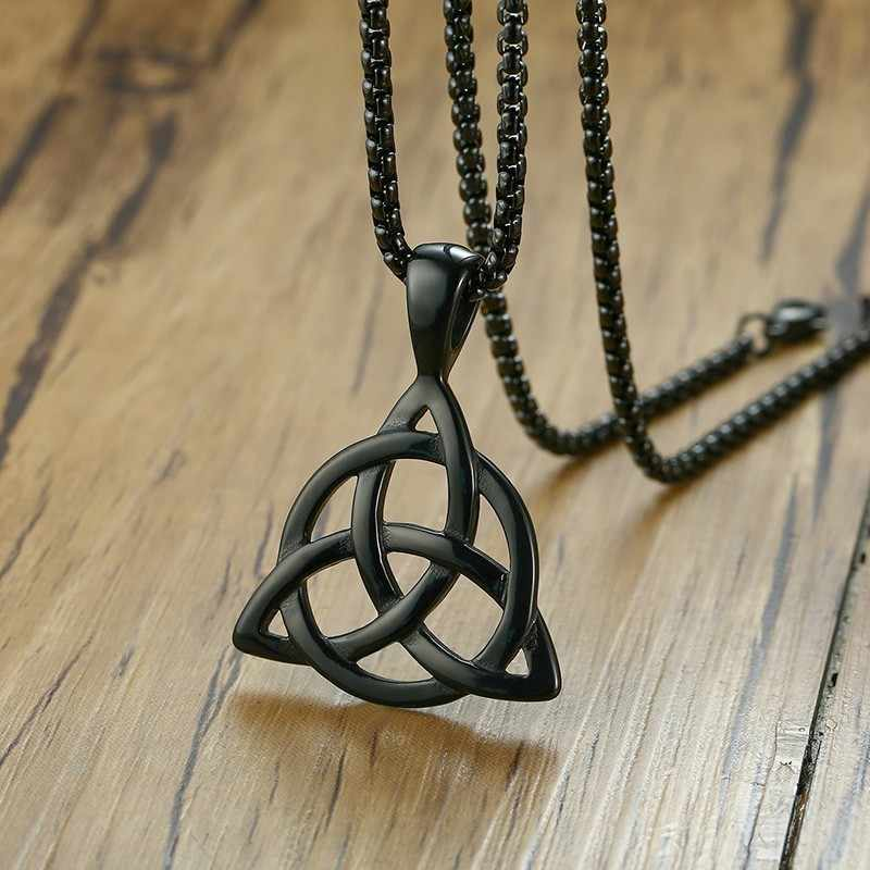 Men's Black Celtic Irish Triquetra Knot Pendant Necklace in Stainless Steel whit 24 inch Chain