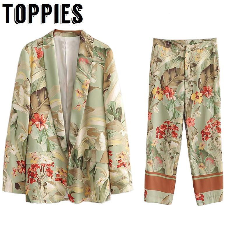 2020 Summer Suit Set Leisure Kimono Blazer Jacket High Waist Straight Pants Two Piece Set Floral Printing Vacation Clothes Women