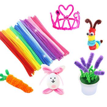 100 sztuk sztuczne kwiaty kolorowe rury pluszowe zabawki edukacyjne czyściki szenilowe gra trenująca mózg dzieci dzieci czyściki do fajki mieszane kolor tanie i dobre opinie wu fang CN (pochodzenie) Różany Łańcuch z kwiatów Na imprezę COTTON