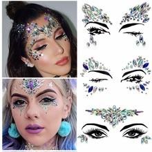 Fine Christmas DIY Eyebrow Face Body Art Adhesive Crystal Glitter Jewels Festival Party Eye Tattoo Stickers Makeup Xmas Decor H