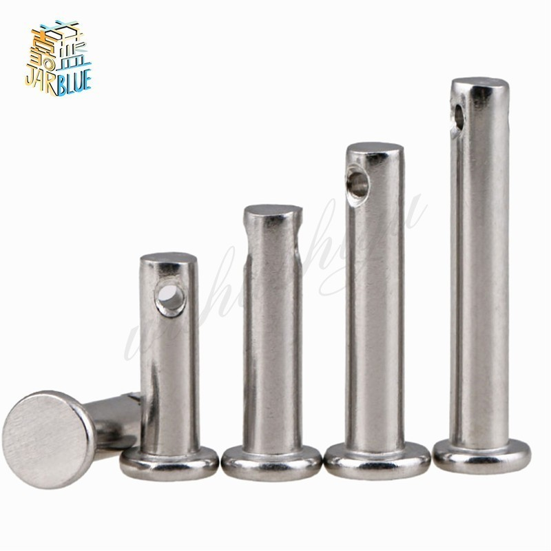 20pcs M3 M4 M5 Dowel Pin Split Pin Hole Round Flat End 304 Stainless Steel Flat Head Hole Column Axial Positioning Pin Shaft
