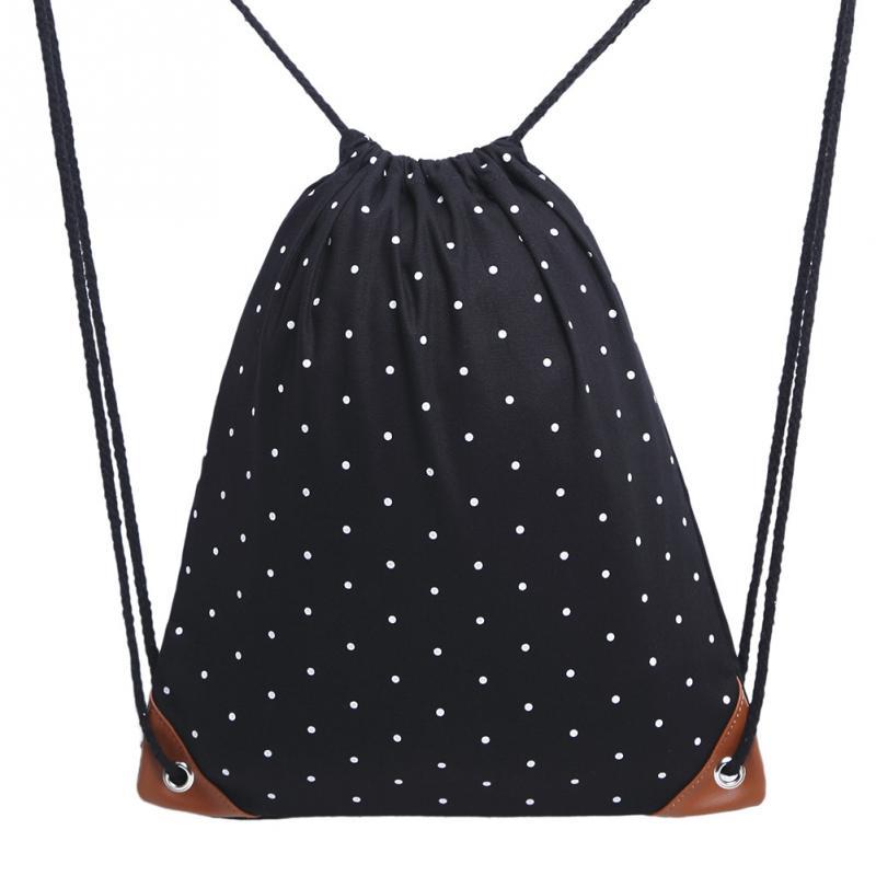 Portable Canvas Drawstring Bag Women Lightweight Polka Dot Sack Backpack Gym Fashion Backpacks
