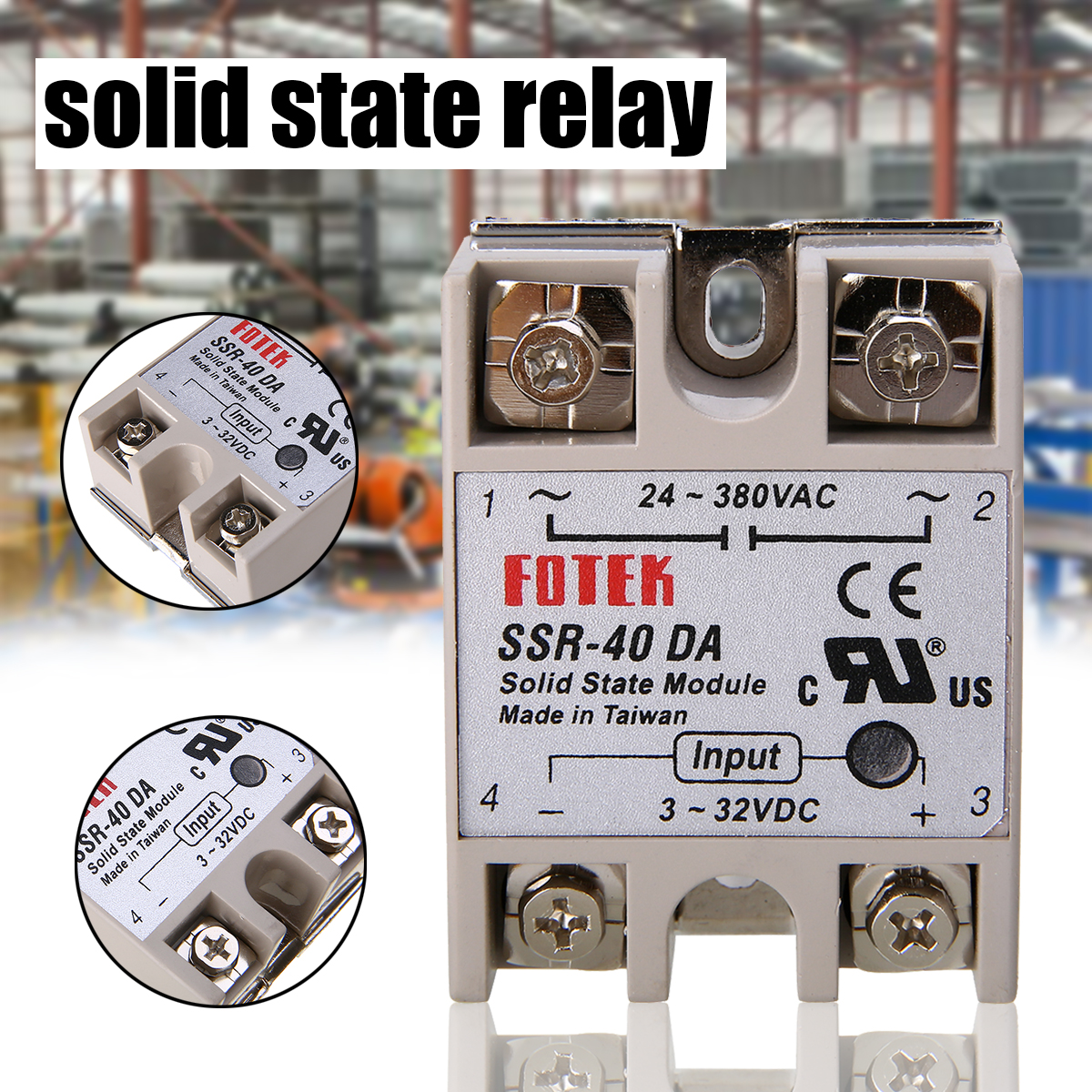 1pc Durable 24-380V 40A <font><b>SSR</b></font>-<font><b>40</b></font> <font><b>DA</b></font> Solid State Relay for PID Temperature Controller 60*45*23mm Long service life image