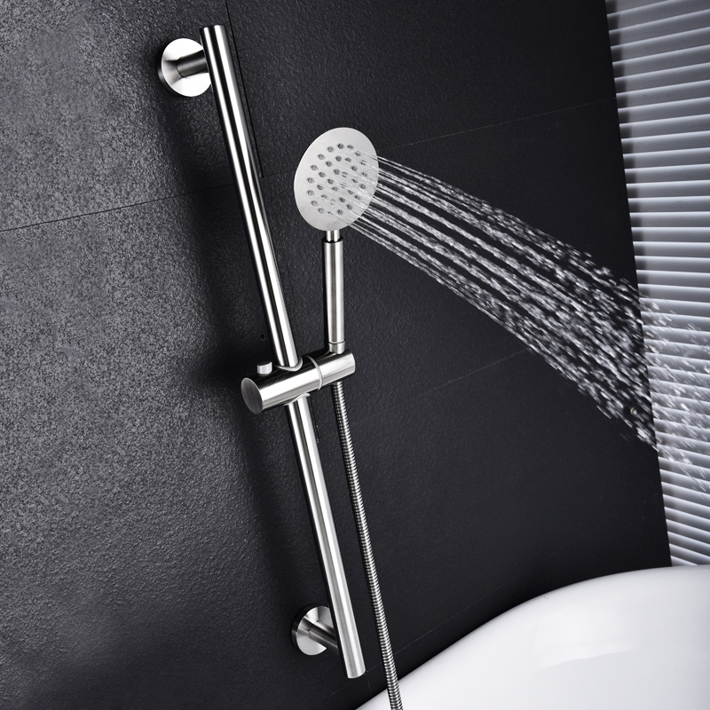 SUS304 Stainless Steel Adjustable Shower Slide Bar Hand Hold Shower Rail Slide Bar Set With SUS304 Shower & Hose Brushed Nickel