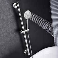 SUS304 Stainless Steel Adjustable Shower Slide Bard Hand Hold Shower Rail Slide Bar Set With SUS304 Shower & Hose Brushed Nickel