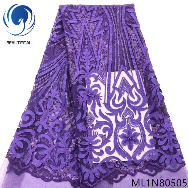 Beautifical purple lace fabric with sequins mash net lace fabrics high quality and beads sequin laces 5 yards/lot fabric ML1N805