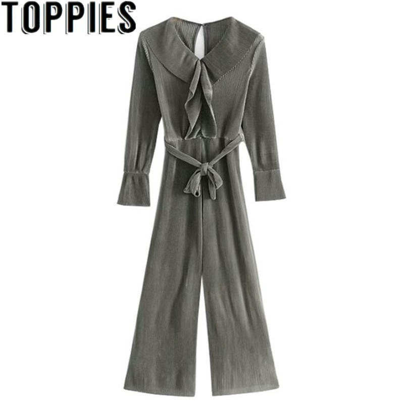2019 Autumn Women V-neck Sexy Long Sleeves Belted Jumpsuits Vintage Ruffles Romper