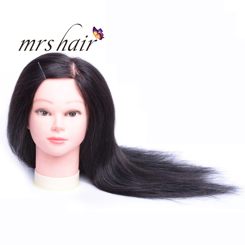"MRS HAIR Training Head Model Real Human Hair Head Model Hair Salon Hairdressing Teaching 8"" - 18"" Black Brown Color Training Mod"