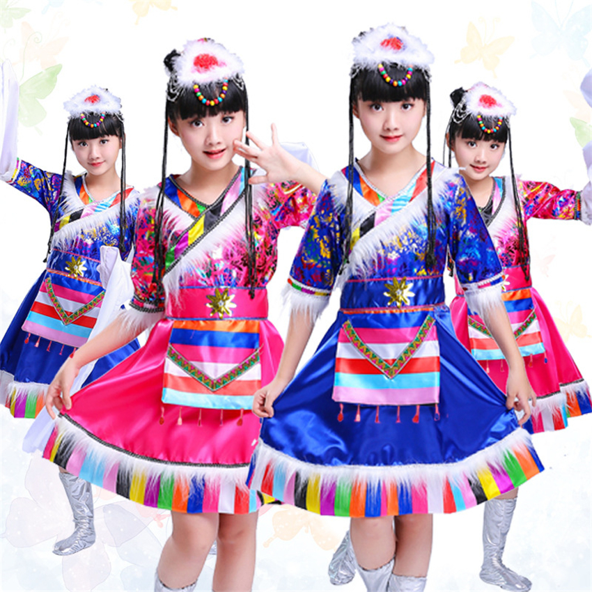 Chinese Folk Dance Costume Festival Outfit Traditional Chinese Tibetan Dancing Dress for Girls Peacock Kids Dresses Clothing
