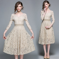 2018 Cocktail Dresses V neck Three Quarter Sleeve Full Lace A line Tea Length Elegant Formal Evening Gowns for Wedding Guest
