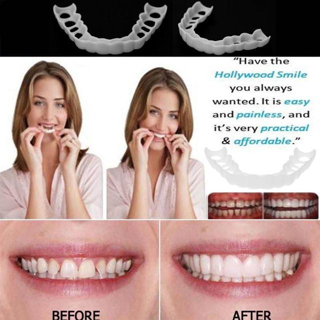 Cómodo cosmético Natural funda de dientes falsos Snap On silicona perfecta sonrisa venecillas dientes superior belleza herramienta dientes para hombres y mujeres