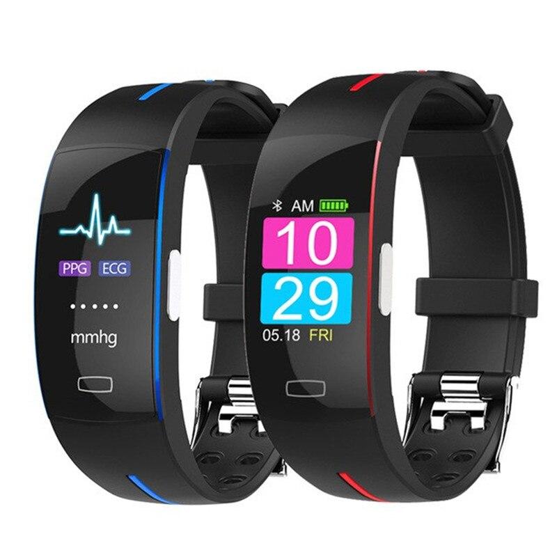P3Plus Smart Fascia di Polso ECG + PPG Misura Dinamica Monitor di Frequenza Cardiaca USB Carica Inseguitore di Fitness Colore Astuto Della Vigilanza Dello Schermo fascia