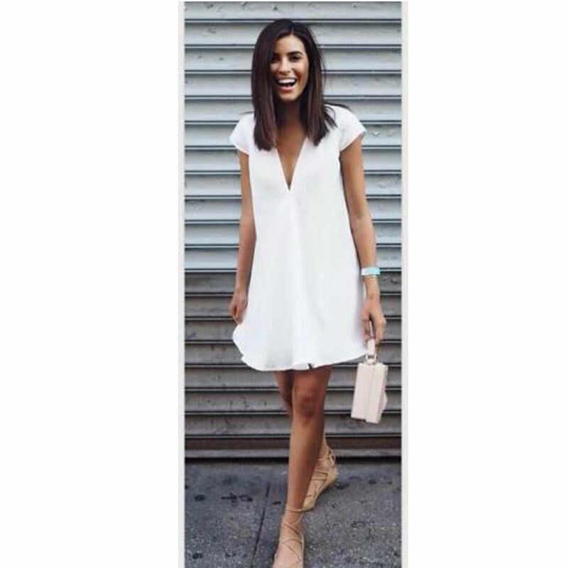 新ファッション女性のソリッドカラーのビーチドレス v スタイルルーズ半袖ドレス黒、白ショートドレスプラスサイズ s-3xl
