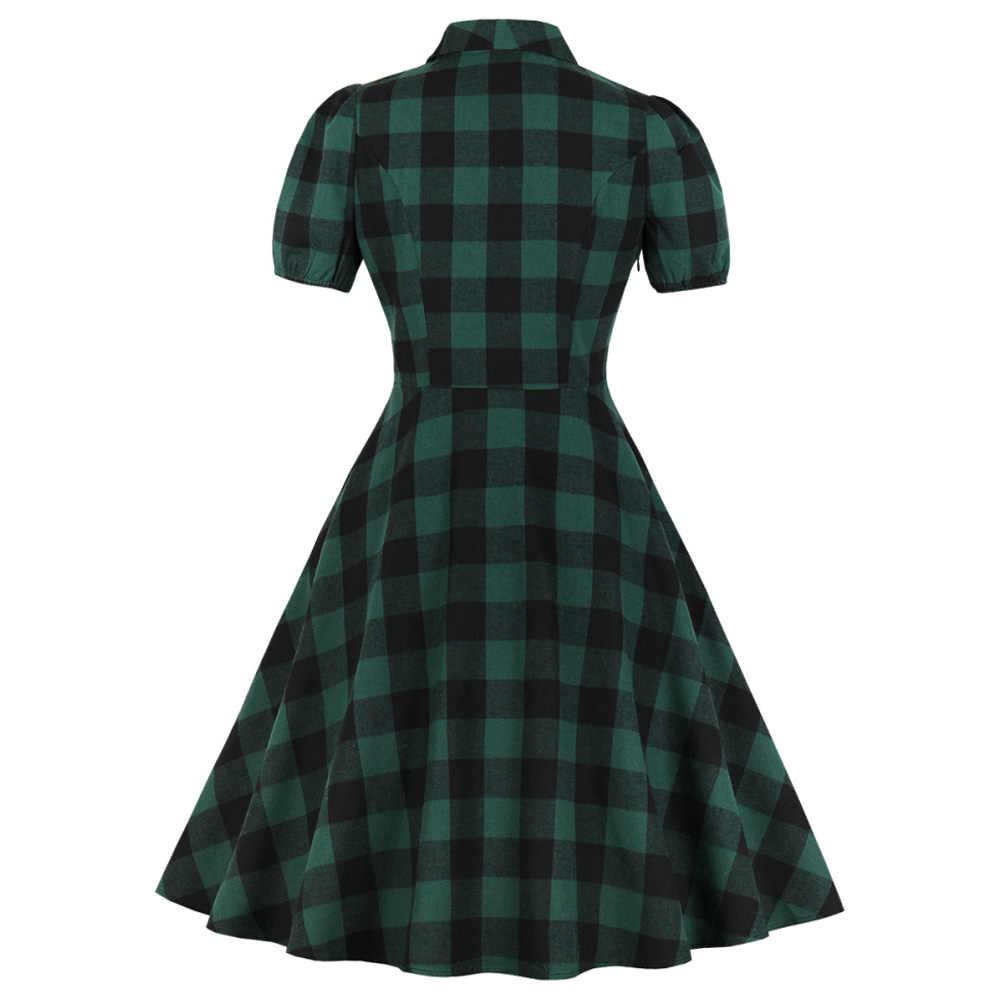 Wisalo женское клетчатое винтажное платье халат рокабилли летнее с отворотом с коротким рукавом и карманом на пуговицах платье с высокой талией А-силуэта вечерние платья