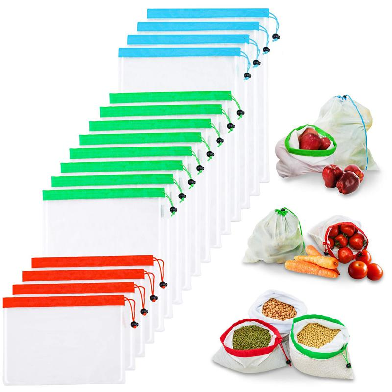 Reusable Produce Bags,Reusable Mesh Bags 16 Pcs Washable Eco Friendly Bags With Tare Weight On Tags For Grocery Shopping Stora