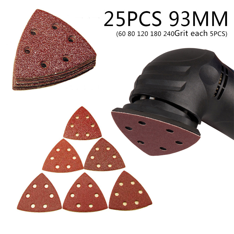 25pcs Sanding Sheets Paper Pads Set Saw Blade Triangle Sander Sandpaper Abrasive Tool Kit  For Power Tools