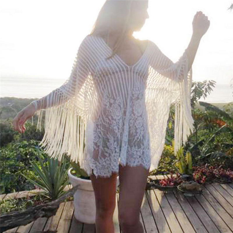 2018 Sexy Cotton Summer Pareo Beach Cover Up Sexy Swimwear Women Swimsuit Cover Up Kaftan Beach Dress Tunic White Beachwear