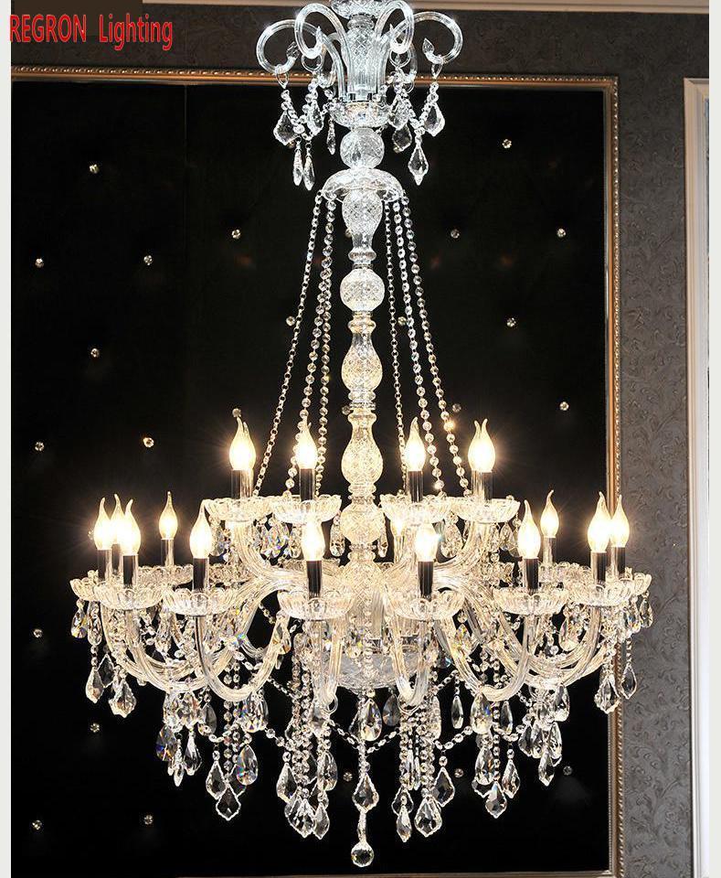 Candelabro de cristal largo penthouse lámpara Led de techo de Iglesia iluminación E14 luces led de vela para sala de estar Hotel banquete Villa