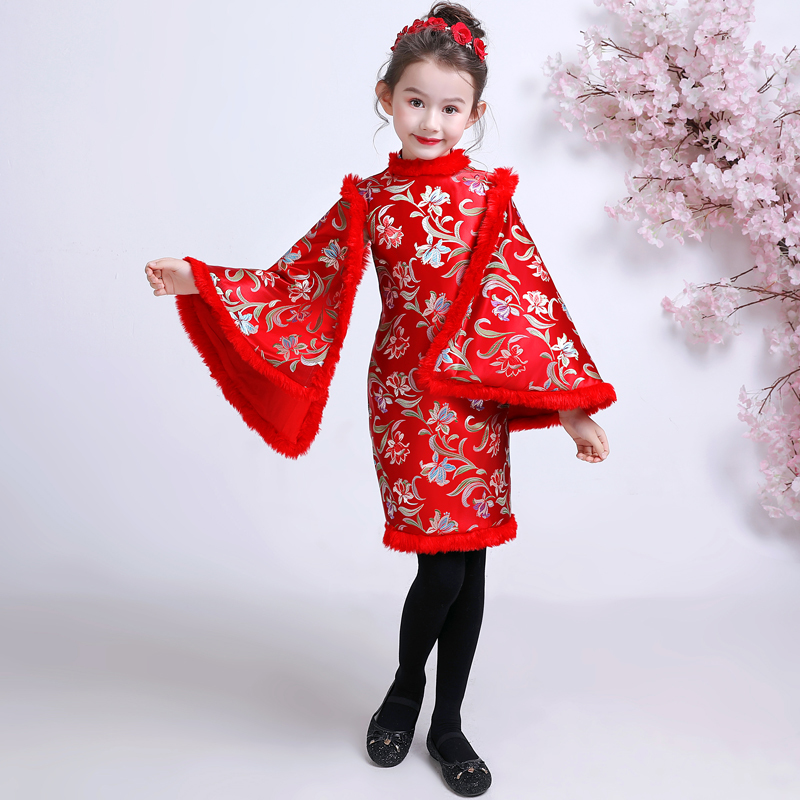 Chinese Dress For Kids Dresses Girls Cheongsam Child Red New Year Costume Satin Qipao Winter Tang Suit Thickening Plus Velvet