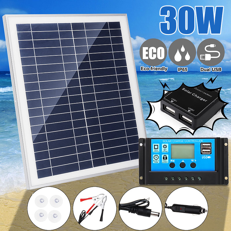 Dual USB 30W 12V Metal frame Solar Panel with Car Charger   10/20/30/40A USB Solar Charger Controller for Outdoor CampingDual USB 30W 12V Metal frame Solar Panel with Car Charger   10/20/30/40A USB Solar Charger Controller for Outdoor Camping