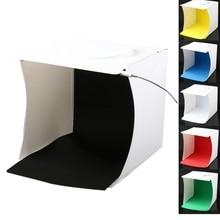 Мини фотостудия коробка, 8,9X9X9,5 дюймов Портативный фотография световой тент комплект, белый складной световой софтбокс с 40 светодиодный