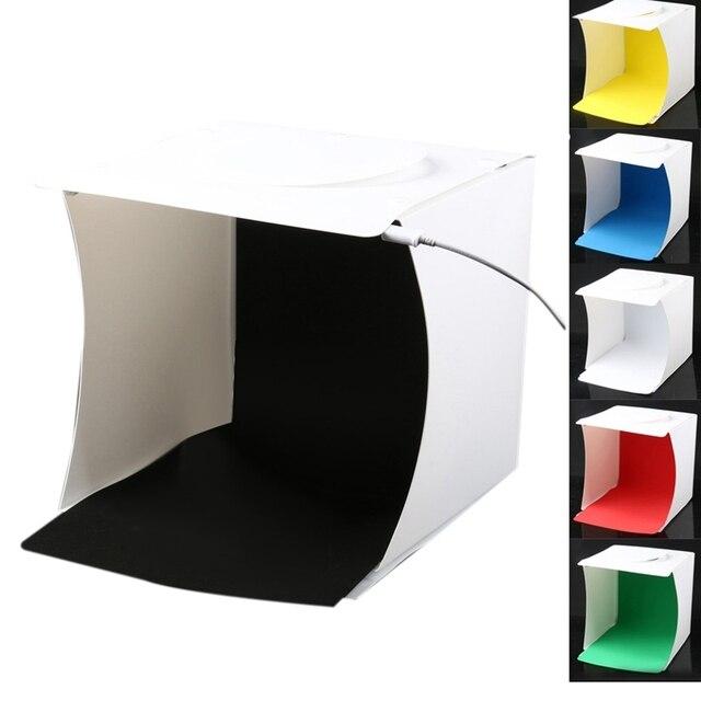 Mini Photo Studio Box, 8.9 X 9 X 9.5 Inch Portable Photography Light Tent Kit, White Folding Lighting Softbox With 40 Led Ligh