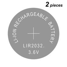 Célula de botão lir2032 recarregável, célula de lítio lir 2032 3.6v 2 peças
