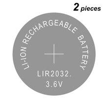 버튼 셀 리튬 이온 충전지 LIR2032, CR2032, 리튬 코인 셀 배터리 LIR 2032 3.6V 2 개 교체