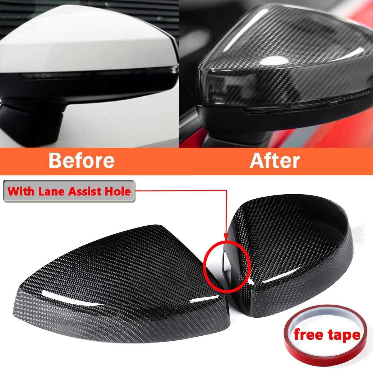 New 2x Add-on Car Side Mirror Covers For Audi A3/S3/RS3 Models 2014-2018 With Lane Assist Option Real Carbon Fiber