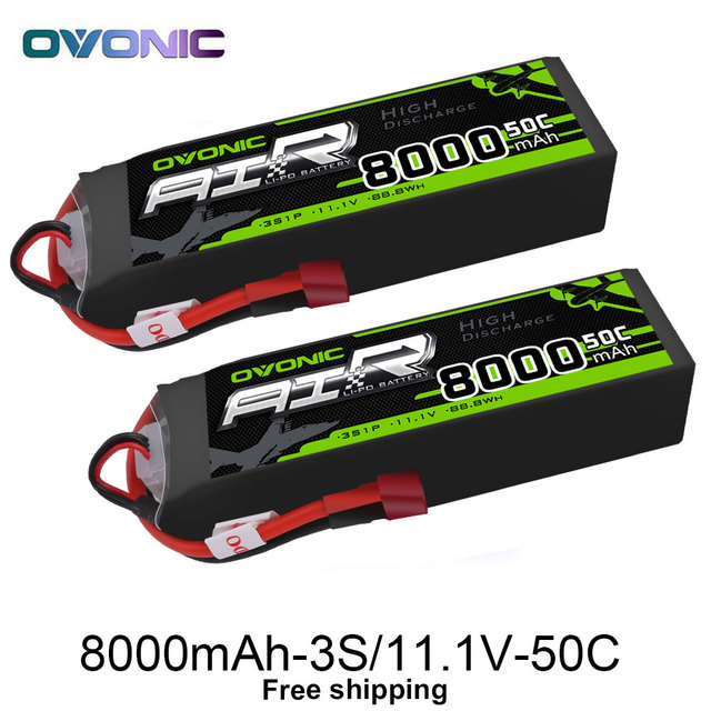 2 Packs OVONIC 8000mAh 50C Lipo 3S Batteries 11.1V Deans Plug for 1/8 Size RC Car Truck Quad Helicopter Drone Boat