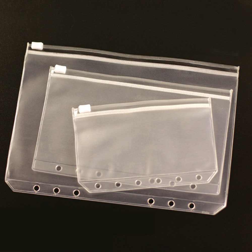 1pcs Transparent Pvc Storage Card Holder For A5 A6 A7 Binder Rings Notebook 6 Hole Zipper Bag Pouch Diary Planner Accessories