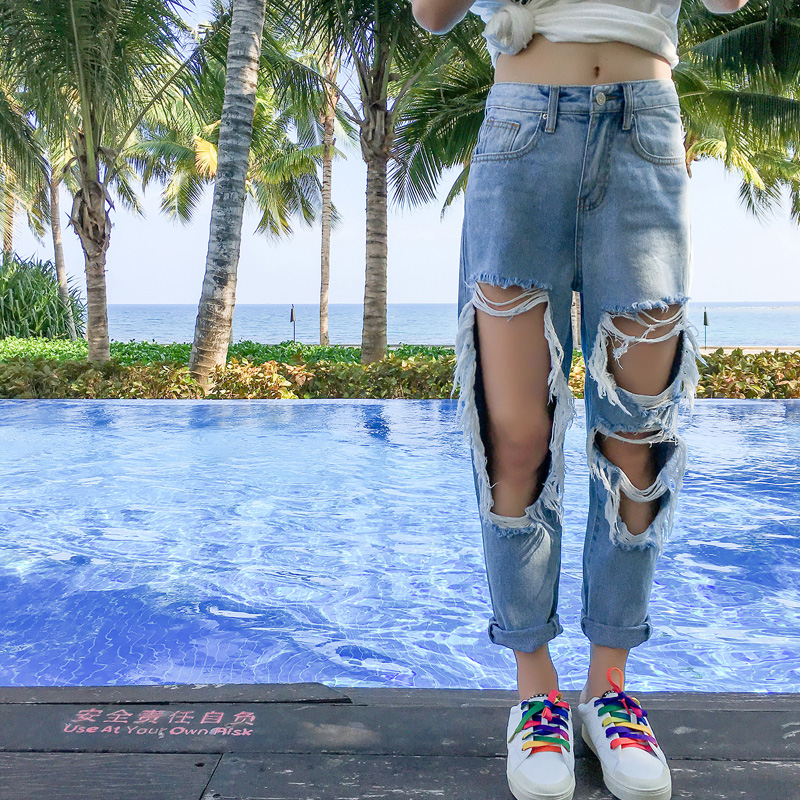 Plus Size Big Hole Ripped Boyfriend Jeans For Women High -6696