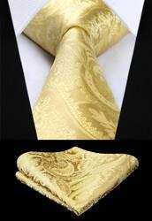 Для мужчин галстук Тканые шелковый галстук вечерние свадебные классические модные платок галстук новый Пейсли желтый Цвет набор носовых