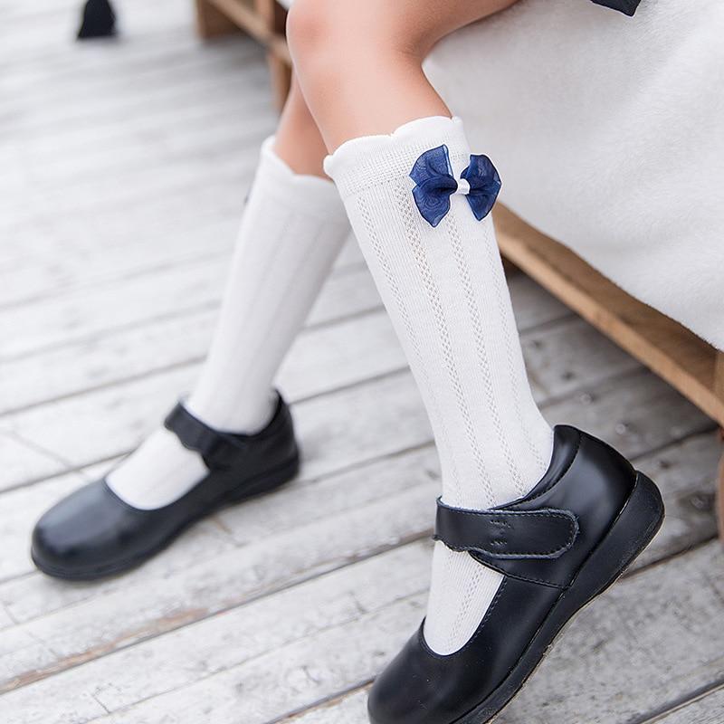 Girls Knee High Princess Socks Kids Lovely Silk Bow Cotton Sports School White Socks Skate Children Baby Long Tube Leg Warm