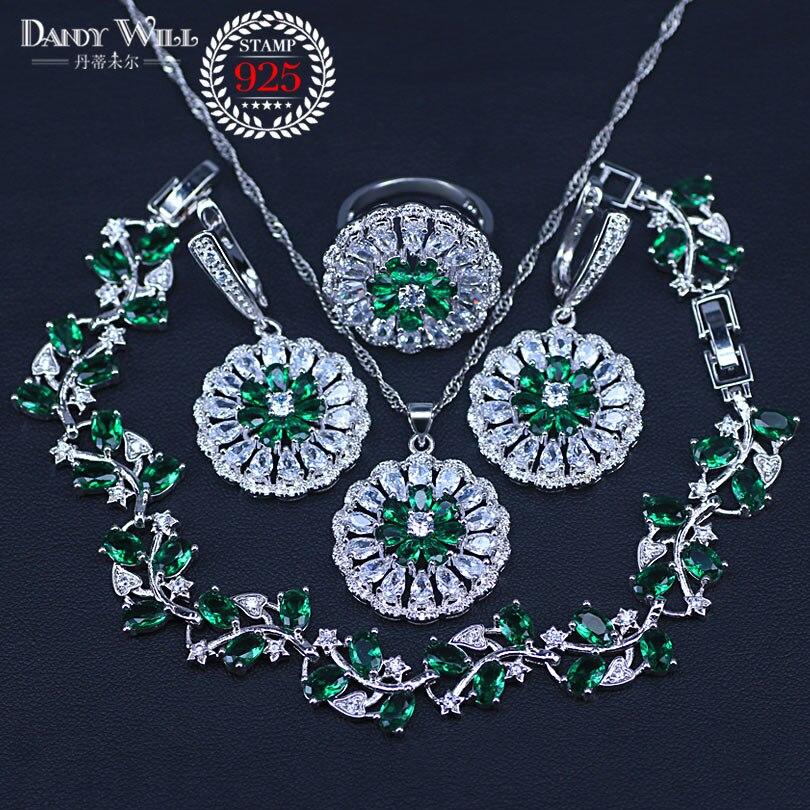 b02f98f27eb7 Collar con colgante de cristal austriaco verde, pendientes de gota,  pulseras de hoja, juego de joyas ...