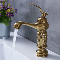 Bathroom Basin Faucets Classic Brass Diamond Faucet Single Handle Hot And Cold Tap Gold Crystal Mixer Washbasin Faucets