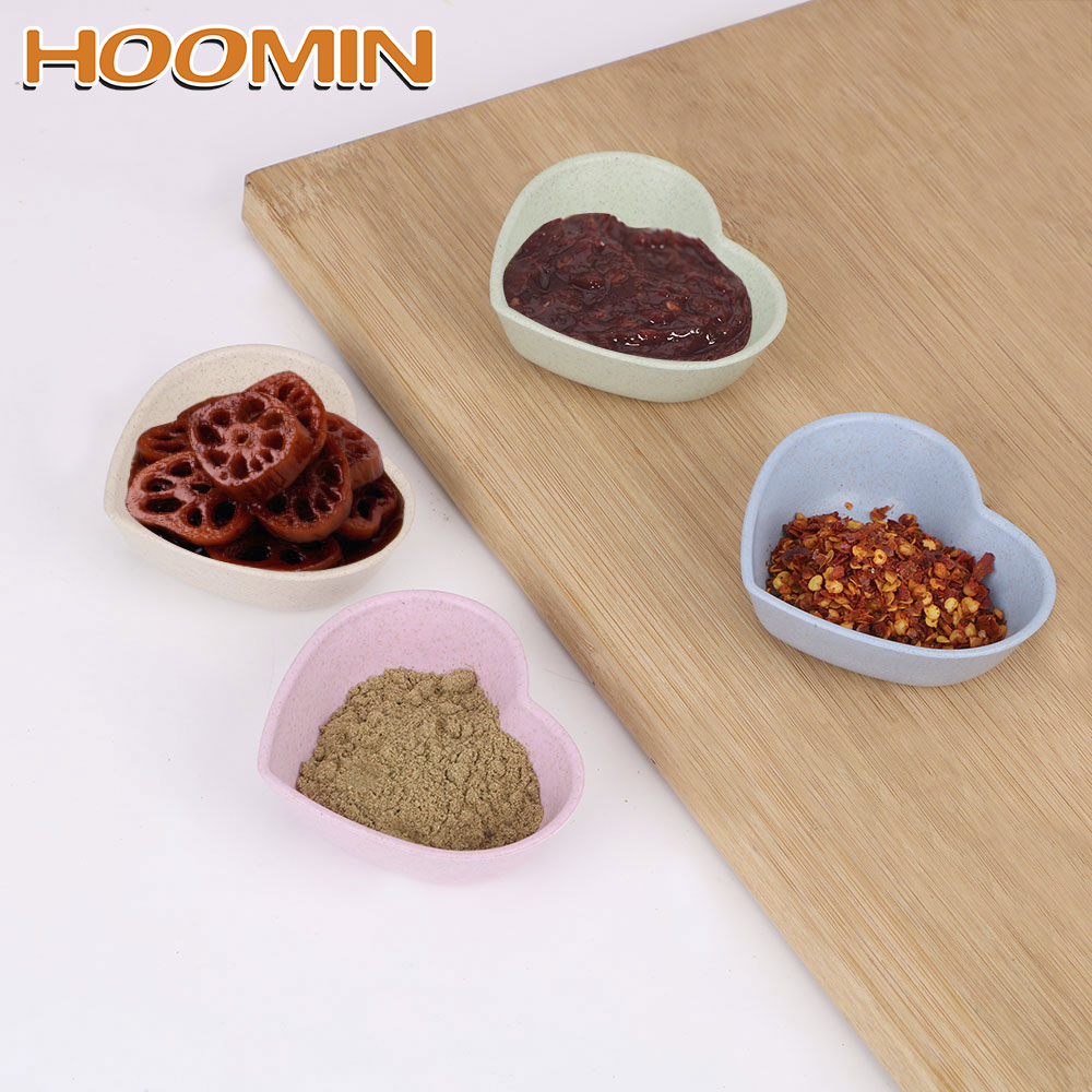 HOOMIN Seasoning Dish Heart Shape Sauce Dishes Wheat Straw for Soy Tomato Sauce Salt Vinegar Flavor Spices Kitchen Accessories image