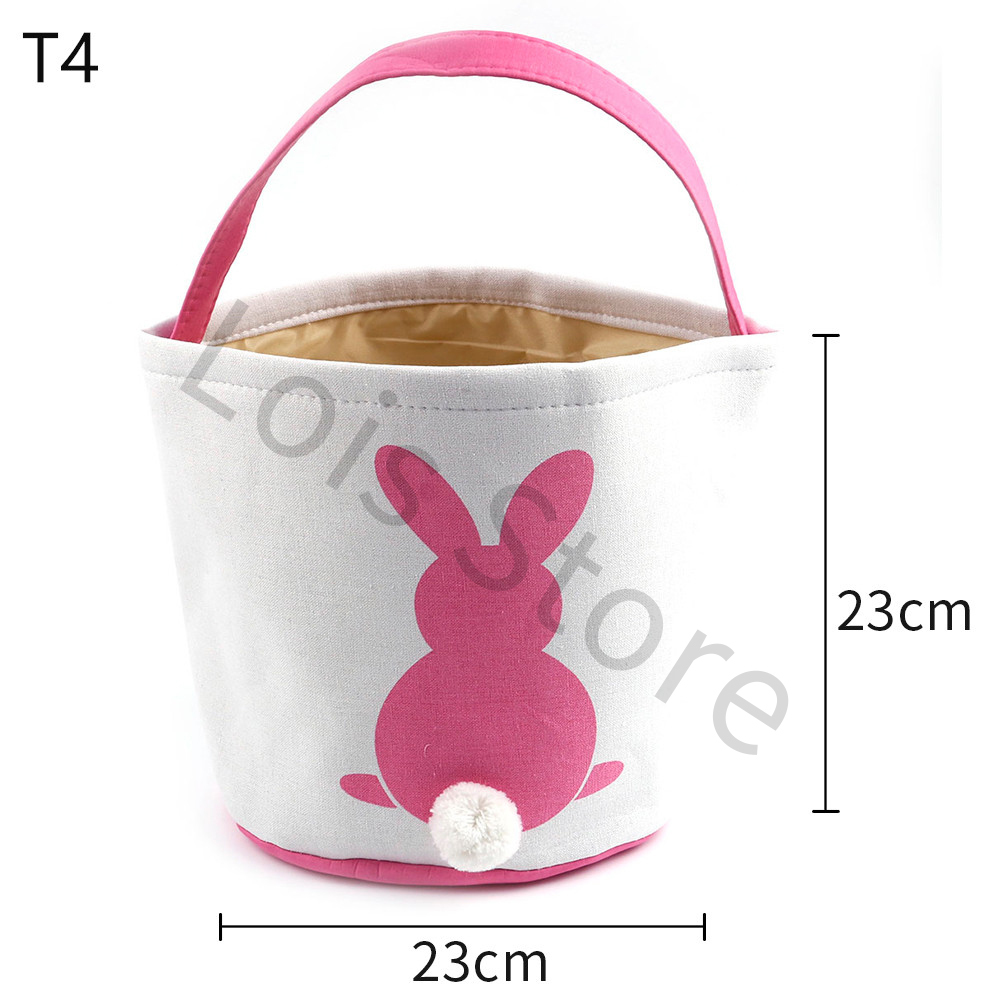 10pcs Fast Shipping New Arrival Bunny Canvas Basket Tails Kids Bucket Easter Spring Day Decoration Easter