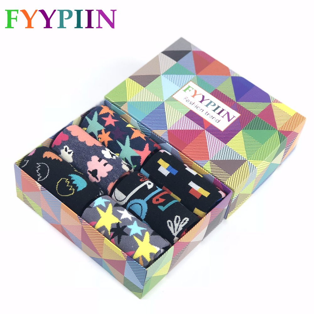 Men Sock 6 Pairs/lot Socks Gift Boxes Happy Cotton Socks New Design Cool Colorful Luxury Gifts Clothing Socks Men